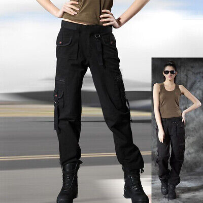 Ladies Womens Trousers Black Army Military Combat Casual Cargo Zipped Pockets