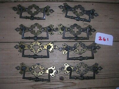 Set Of Eight Antique Brass Drawer Handles  (261)