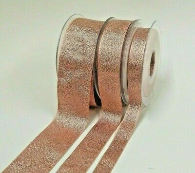 Rose Gold Lamé Ribbon, Choice of Widths of 15mm, 25mm or 40mm