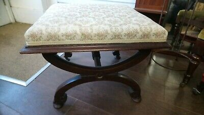 Antique Footstool, Stool, X Shaped Frame In Need Of Restoration