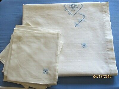 Vintage 6 Linen Embroidered Table Napkins and Table Cloth New/Old