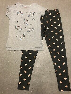 BNWOT Primark Girls Unicorn Design Leggings And Top - 9-10 Years