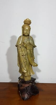 Chinese Carved Soapstone Guanyin Sculpture Antique Buddha Statue Qing Dynasty