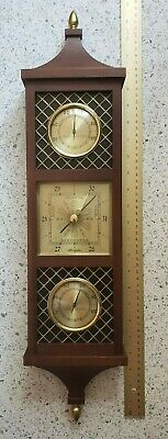Airguide Weather Forecast Station Vintage Wood Barometer Thermometer Humidity