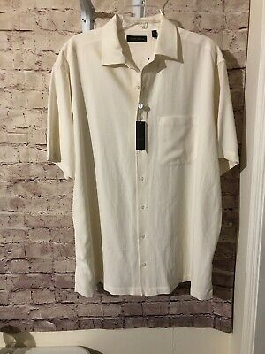 JOSEPH ABBOUD White Silk Shirt Short Sleeve Button Front Sz 1XB NEW WITH TAGS