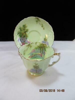 Aynsley Cup & Saucer Set Lime Green with Scenery embossed design detail