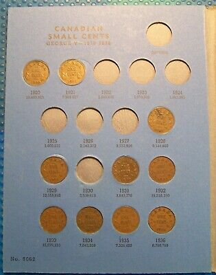 COLLECTION OF CANADIAN 1 CENT 1920 to 1971 IN A BLUE BOOK **50 COINS TOTAL** #13