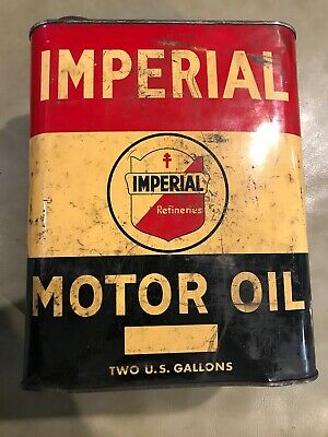 Vintage Imperial Refineries Motor Oil 2 Two Gallon Oil Can Metal Red White Blue