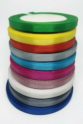 23 Metres, Double Sided Satin Ribbon (Rolls). 6mm Widths 10 Colorful