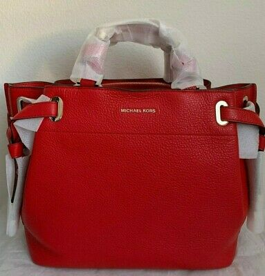 MICHAEL KORS LEATHER Red Jet Set Tote Handbag Small EUR 58