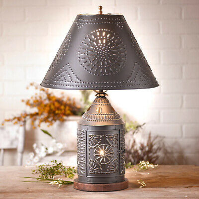 Tinner's Revere Table Lamp with Shade Smoky Black Tin Country Colonial Lighting
