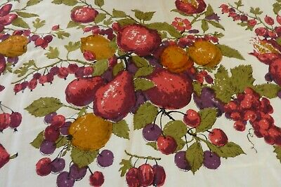 Vtg Mid Century Luther Travis Fruit Print Cotton Tablecloth Oval