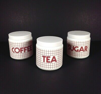 Retro CLP Storage Jars Canisters Tea Coffee Sugar MADE IN ENGLAND Vintage White