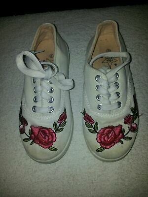 Girls Kids Size 12 White Pink Trainers Pumps Shoes Good Quality Condition Lovely