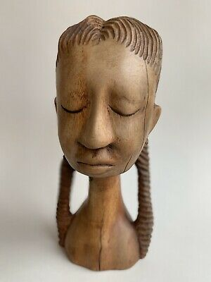 Vintage African American Carved Wood Woman Bust Art Folkart by ABNER Signed