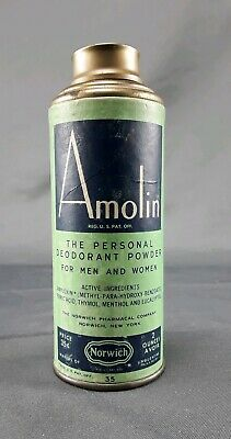 Vintage Tin & paper Can of Norwich Amolin Powder 2 Oz Size ~ mostly full