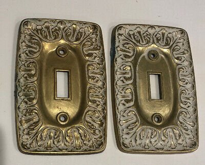 Vintage Brass Metal Switch Plate Outlet Covers LR28847 BF141 Set Of 2 LOT