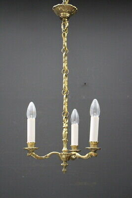 Vintage hall light antique French Provincial Louis 3 arm chandelier solid brass