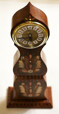 Vintage Hechinger Hand Made & Painted Shelf Wooden Quartz Clock *MADE IN GERMANY
