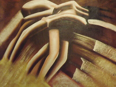 brown abstract bodies figures huge oil painting canvas modern contemporary sexy