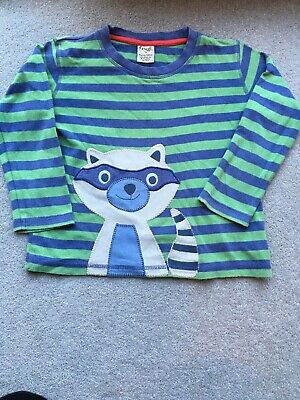 BOYS FRUGI - Racoon Bandit Stripy BLUE / Green Long  SLEEVED TOP - SIZE 4-5 YRS