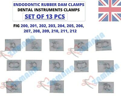 Dental Restorative Set Of 13 Rubber Dam Clamps German Steel CE UK Rubber dam set