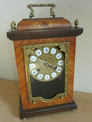Vintage French Style Inlaid Case Carriage Clock, porcelain dial, Meazzi 81 mvnt
