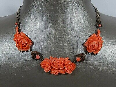 """Antique Art Deco Carved Celluloid Coral Flowers Brass Leaves Links 16"""" Necklace"""