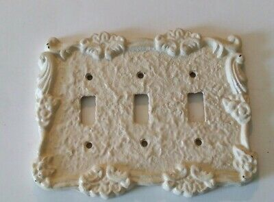 Vtg Ornate Cast Iron Triple Light Toggle Switch Plate Cover Cream Great Shape