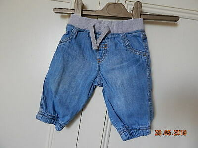 Next Baby Boys Blue Denim Lined Jeans Up To 3 Months Soft Grey Ribbed Waistband