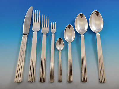 Bernadotte by Georg Jensen Sterling Silver Flatware Set Service 94 pcs Dinner