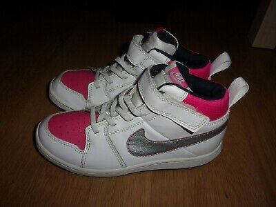Nike Backboard II White, Pink & Silver leather high top girls trainers size 1.5