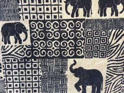 FR Treated Per Meter Elephants Design Upholstery Fabric Heavy Weight