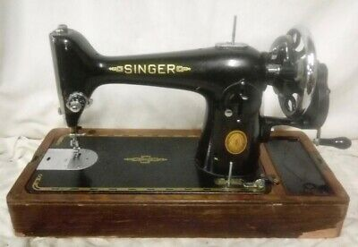 Vintage 201K Manual Hand Crank Singer Sewing Machine + Dome Case