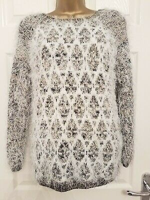 River Island Ladies Jumper Size 10 Black White Gold Fluffy Look Long Sleeve