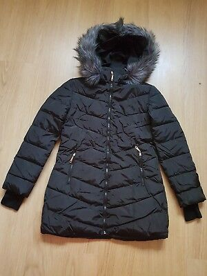 new without tag girls Black Padded Coat With Grey Faux Fur hood