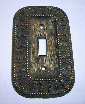 Vintage 1968 American Tack & Hardware Antique Brass Single Toggle Switch Plate
