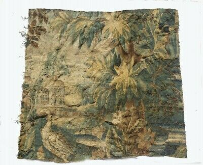 A 18th Century Square Verdure Tapestry Fragment with Birds