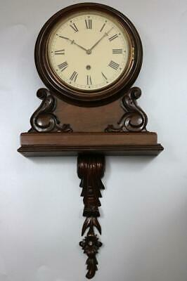 """RARE ANTIQUE SMALL 8"""" DIAL BRACKET WALL CLOCK beautiful carving, working order"""
