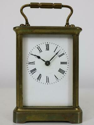 ANTIQUE FRENCH CARRIAGE CLOCK cylinder platform escapement WORKING untouched con