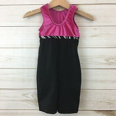 GK Girls Pink/Black Gymnastics Sleeveless Leotard. Size XS