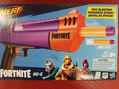 NEW NERF Fortnite HC-E Mega Dart Blaster Includes 3 Official Fortnite Mega Darts