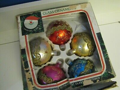 Vtg Set 5 Colorful Handmade Glass Kurt Adler Xmas Tree Ornament Santas World Box