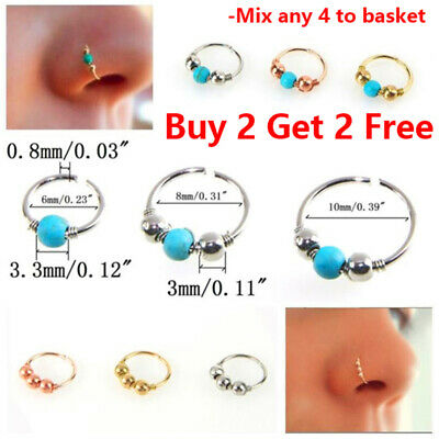 Fashion Nose Hoop With Ball Cartilage Tragus Helix  Ear Piercing Ring UK Seller