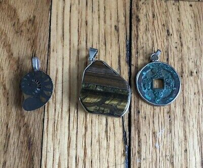 Lot Of 3 Pendents Vintage Chinese Coin Stone Tigers Eye Ammonite Fossil Hippie
