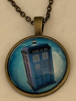 Dr Who Telephone Booth Cabochon Necklace NEW USA Shipped from California
