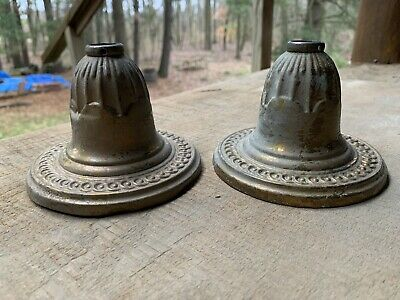 Vintage Pair Brass Ceiling Canopy Cap Covers Hanging Light Fixture Chandelier