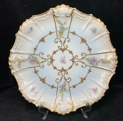 """Lovey 12"""" Antique Limoges AK CD Gilted Gold French Floral Flowers Plate Platter"""