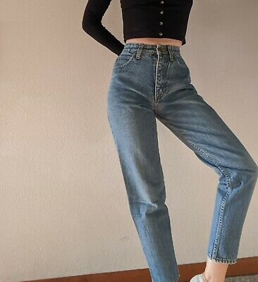 Vintage high waist Guess Mom Jeans Ankle Zip tapered medium wash 26 (tag 28)
