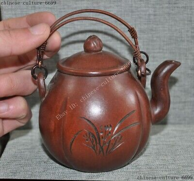 Chinese Yixing Zisha pottery Hand-carved orchid flower Teapot pot Tea Maker